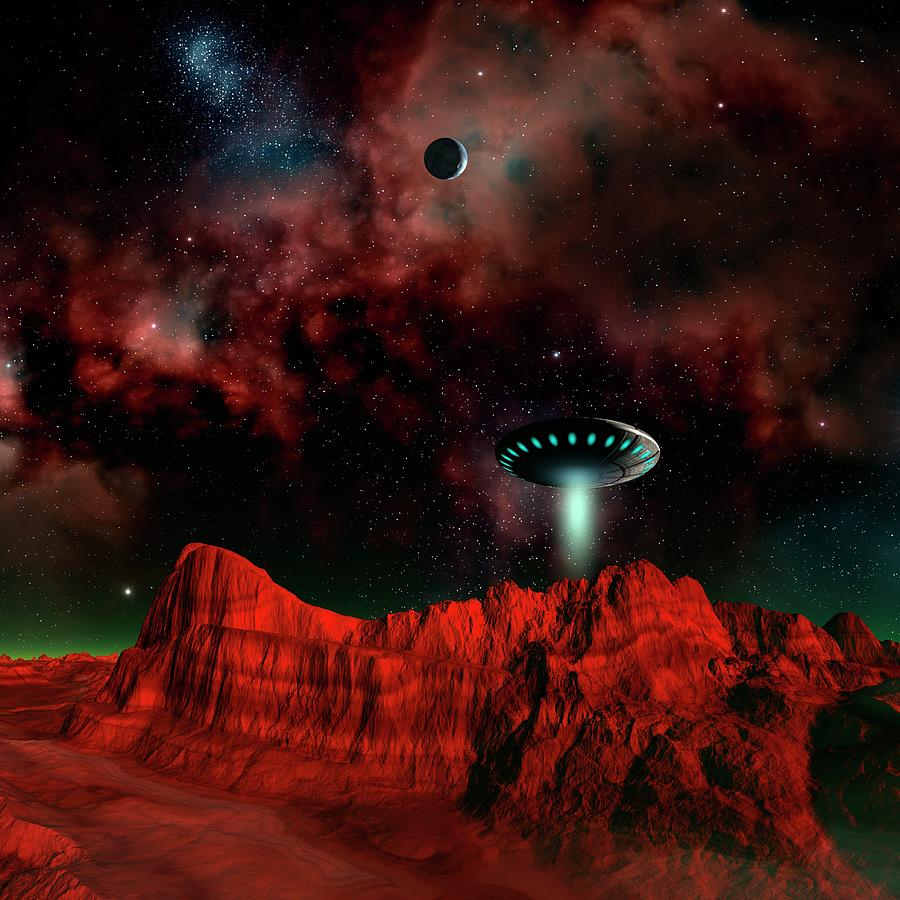 Illustration Photograph - Ufo Over An Alien Planet by Mehau Kulyk/science Photo Library