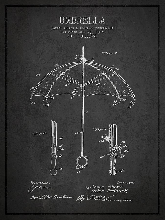 Umbrella Digital Art - Umbrella Patent Drawing From 1912 by Aged Pixel