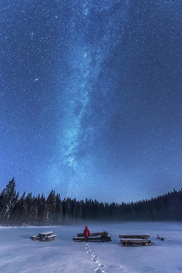 Snow Photograph - Under The Starry Night by Ales Krivec