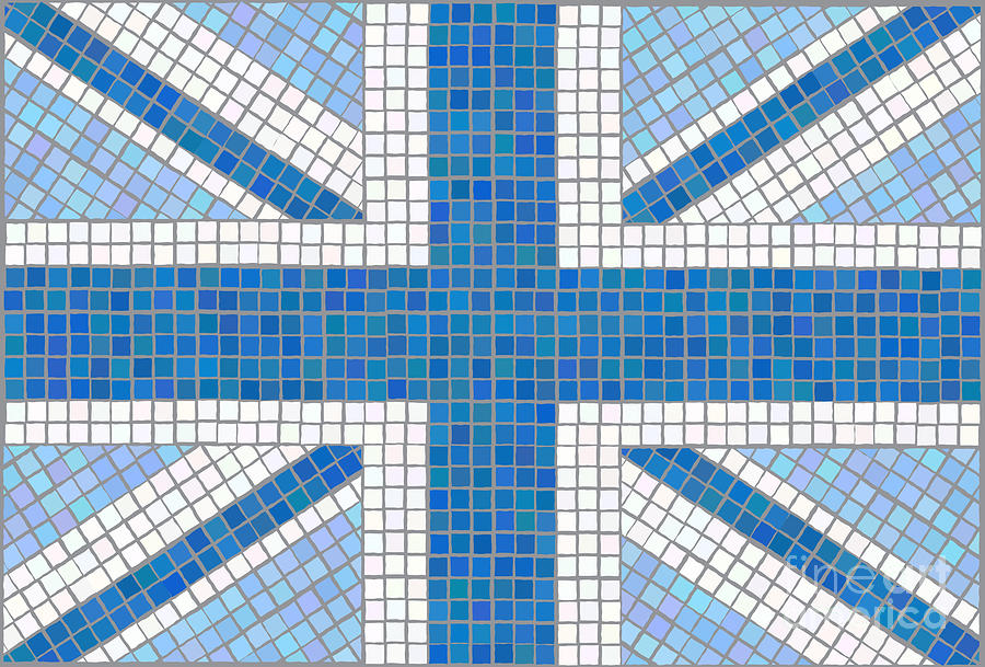 Background Digital Art - Union Jack Blue by Jane Rix