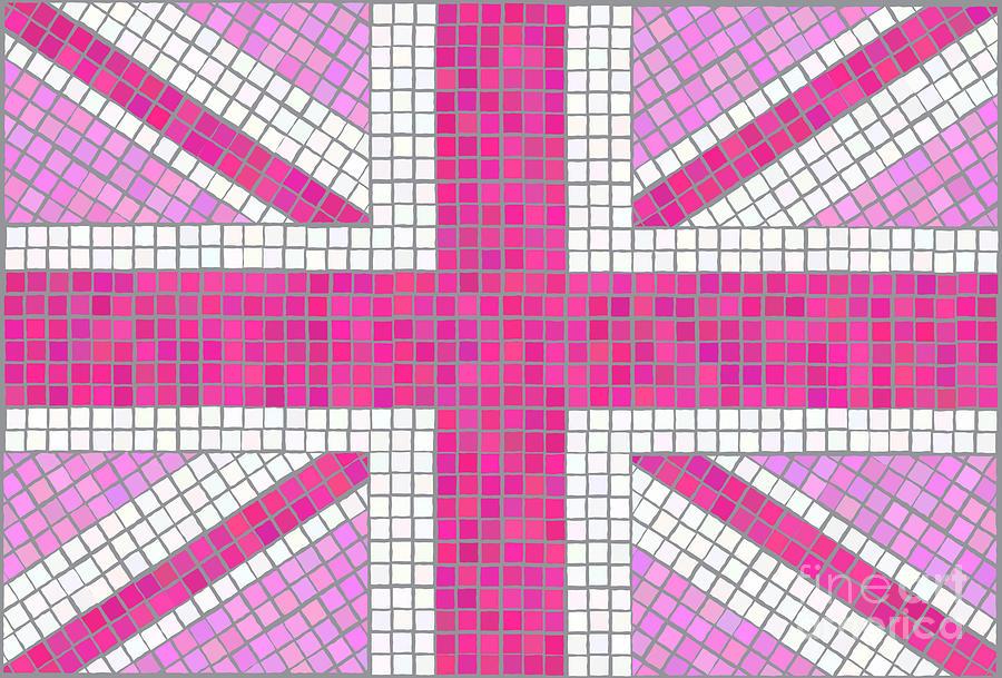 Background Digital Art - Union Jack Pink by Jane Rix