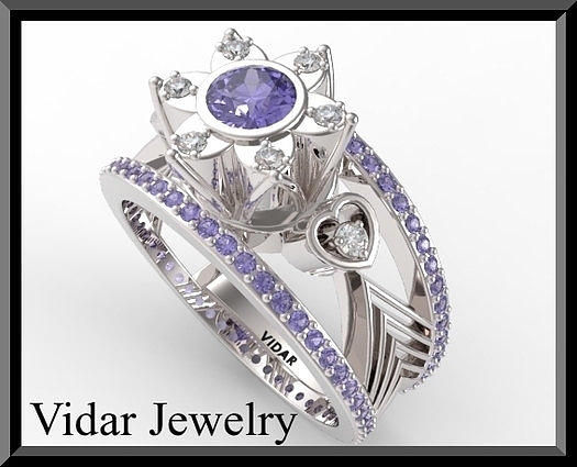 Gemstone Jewelry - Unique Blue Sapphire And Diamond 14k White Gold Engagement Ring by Roi Avidar