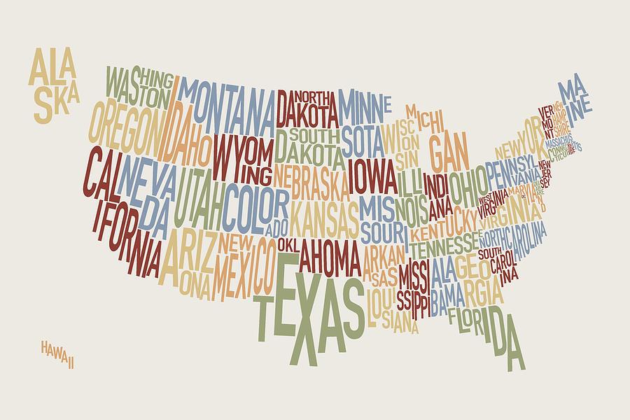 Usa Map Digital Art - United States Text Map by Michael Tompsett