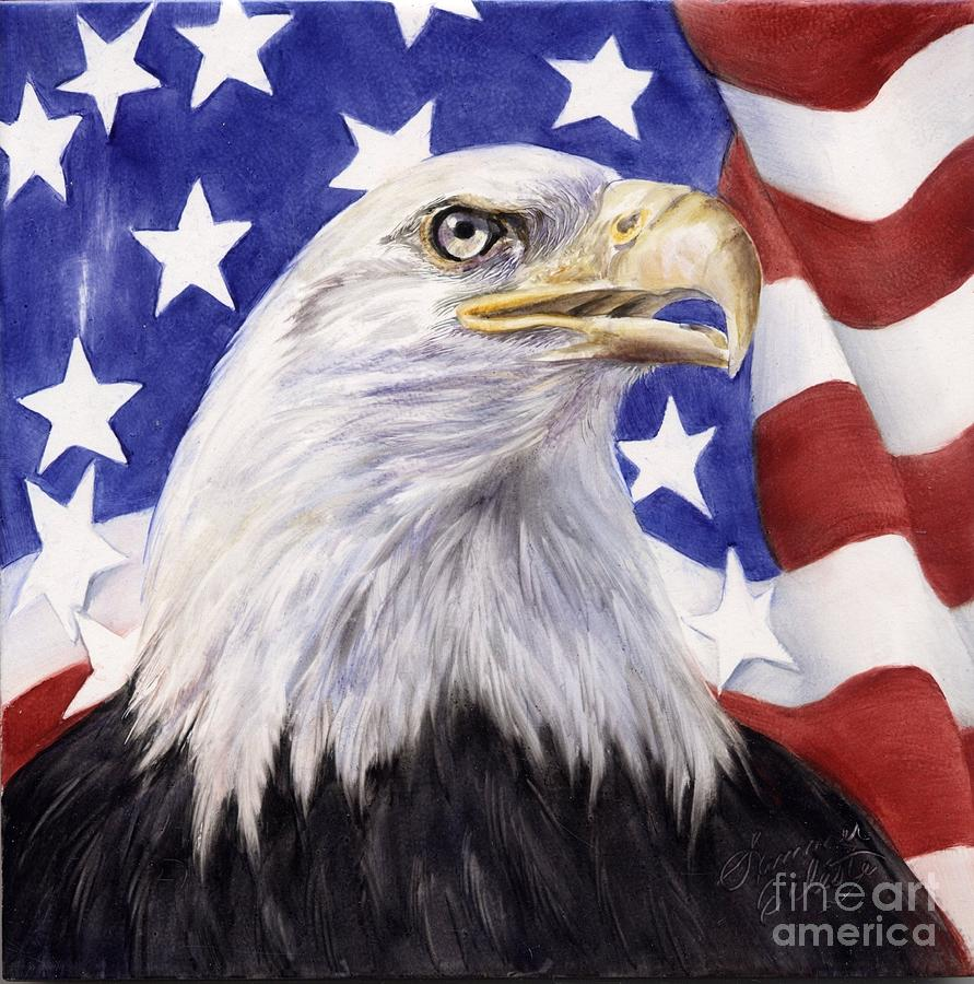 Eagle Painting - United We Stand? by Summer Celeste