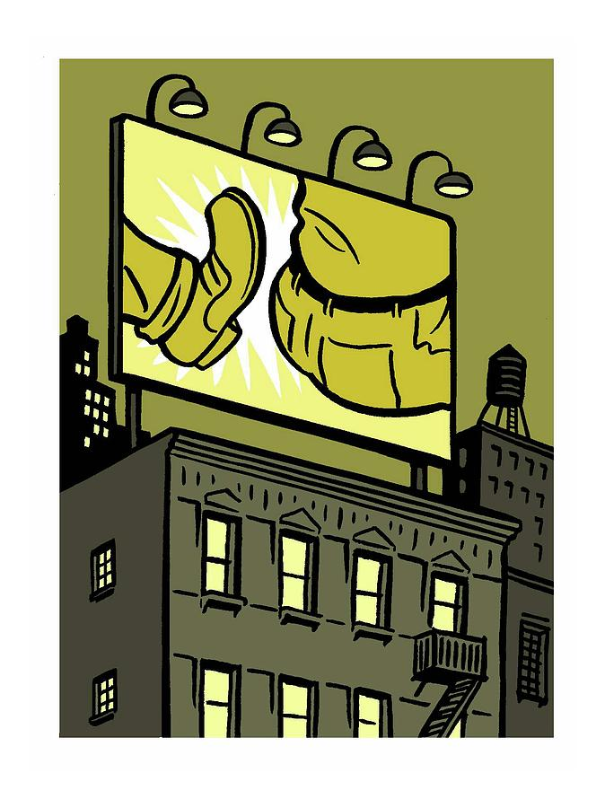 A Billboard Depicts A Butt Kick Drawing by Christoph Niemann