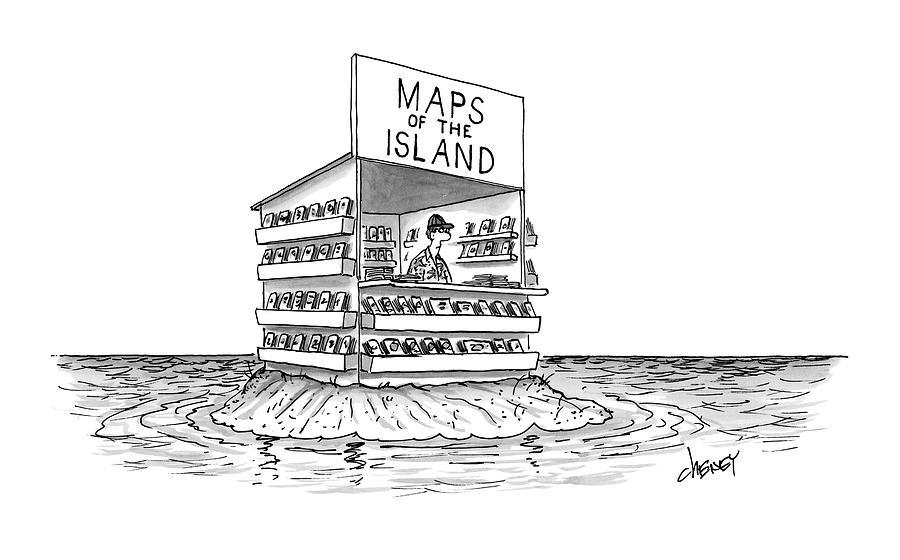 Desert Island Drawing - New Yorker November 7th, 2016 by Tom Cheney