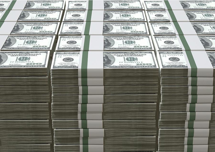 Us Dollar Notes Pile by Allan Swart