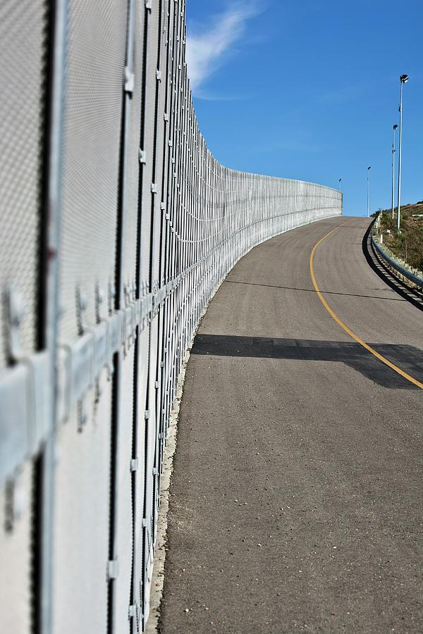 21st Century Photograph - Us-mexico Border Fence by Josh Denmark - U.s. Customs And Border Protection/science Photo Library