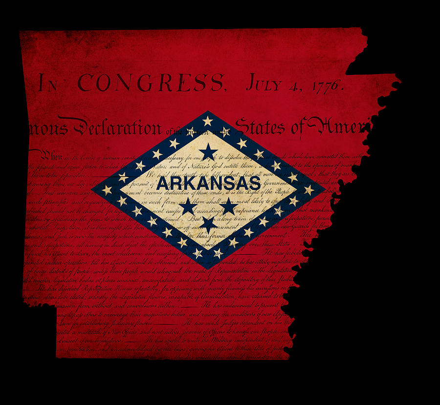 Usa Photograph - Usa American Arkansas State Map Outline With Grunge Effect Flag  by Matthew Gibson