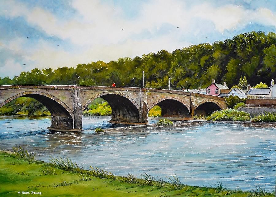 Usk Painting - Usk Bridge by Andrew Read