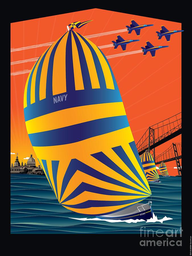 Usna Sailing Digital Art - Usna Sunset Sail by Joe Barsin
