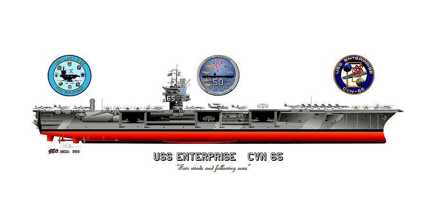 Aircraft Carrier Digital Art - Uss Enterprise Cvn 65 2012 by George Bieda