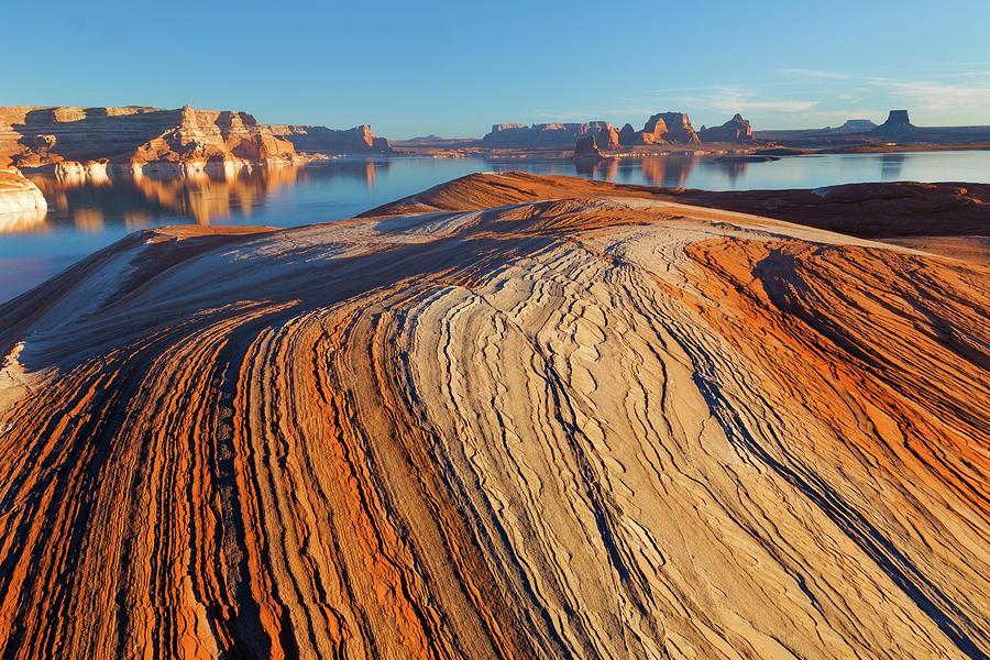 Erosion Photograph - Utah Weathering Pit Ridge At Lake by Jaynes Gallery