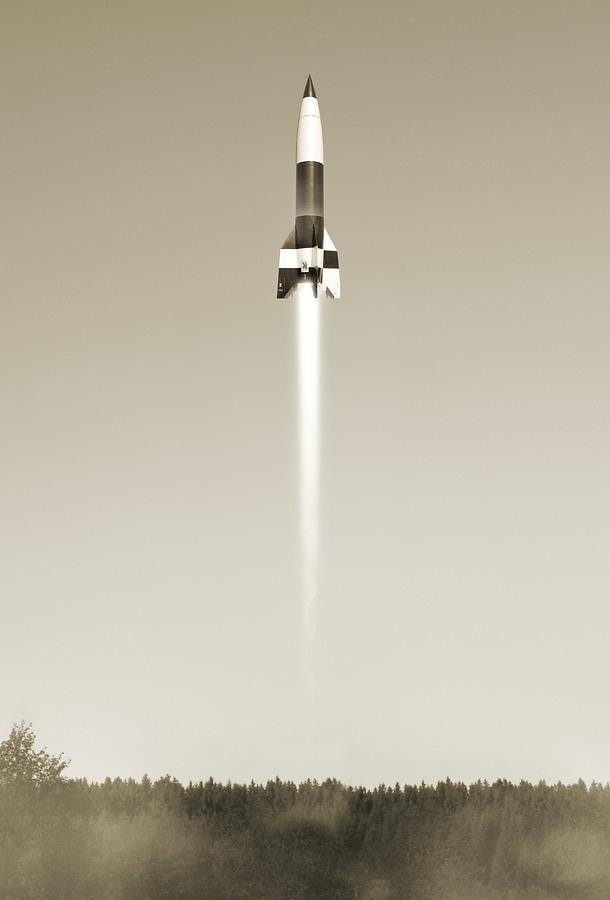 1900s Photograph - V-2 Rocket Launch, Artwork by Science Photo Library