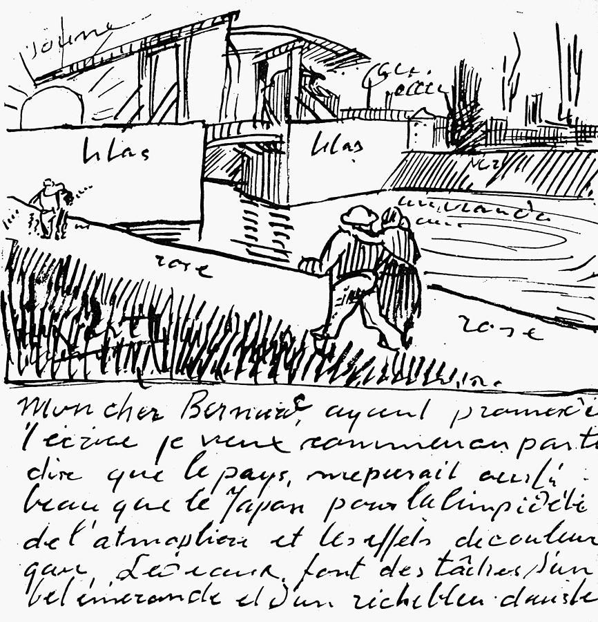 1888 Painting - Van Gogh Letter, 1888 by Granger