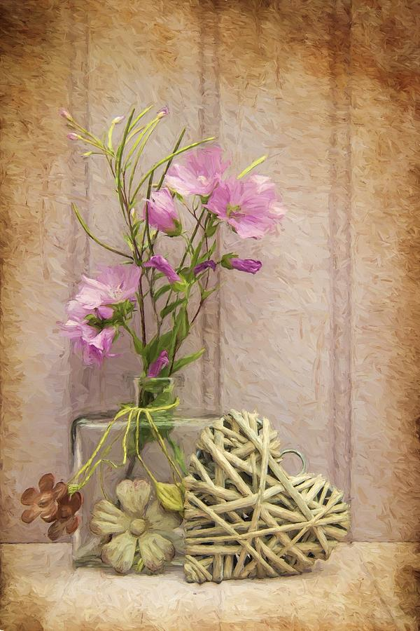 Flower Photograph - Van Gogh Style Digital Painting Beautiful Flower In Vase With Heart Still Life Love Concept by Matthew Gibson