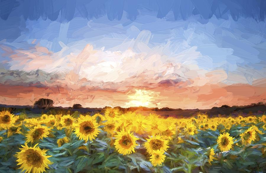 Van Gogh Style Digital Painting Sunflower Summer Sunset