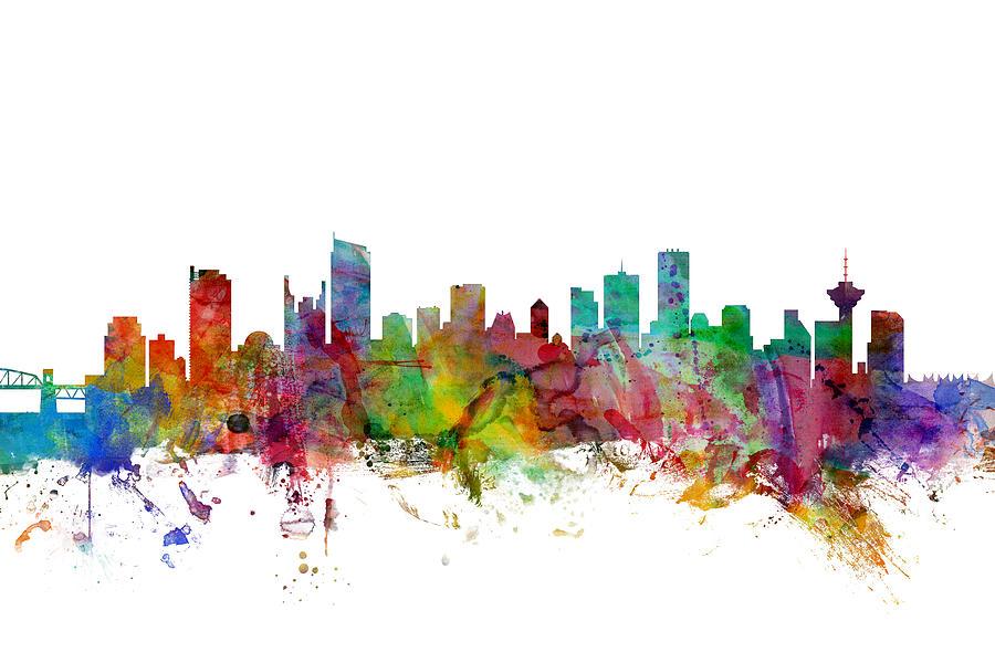 City Skyline Digital Art - Vancouver Canada Skyline by Michael Tompsett