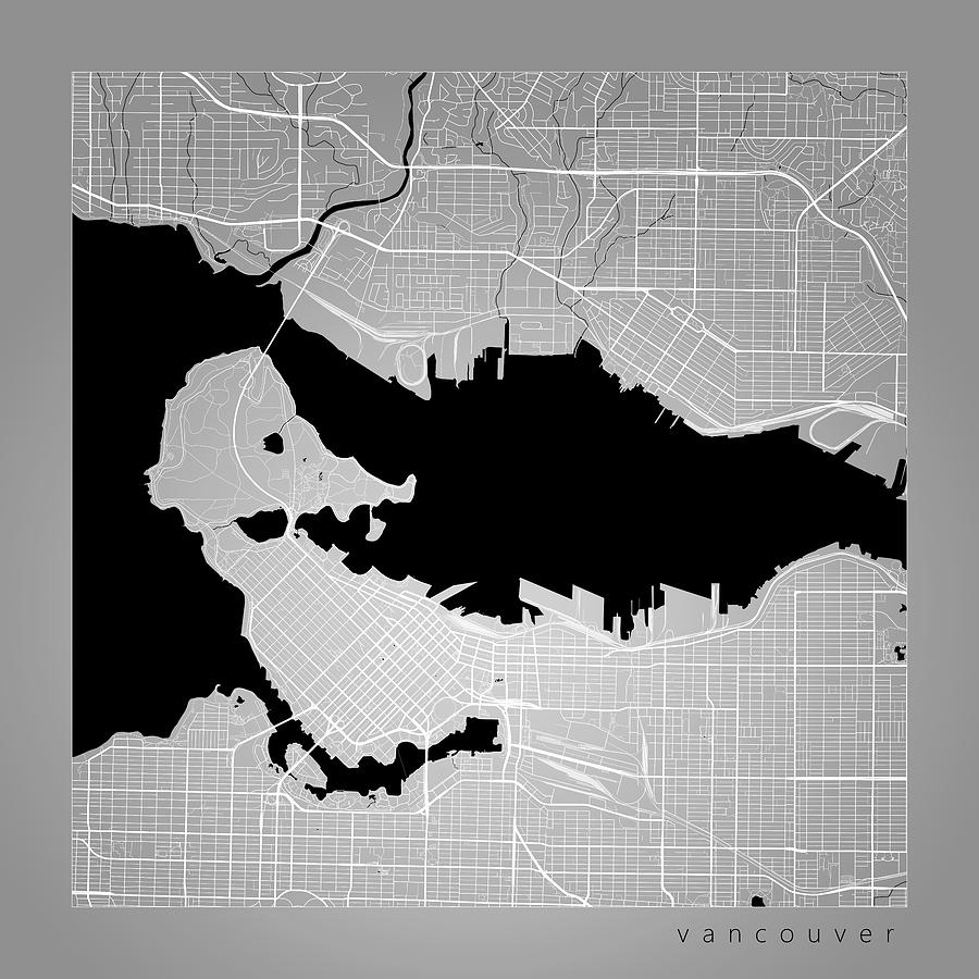 Vancouver street map vancouver canada road map art on color road map digital art vancouver street map vancouver canada road map art on color gumiabroncs Gallery