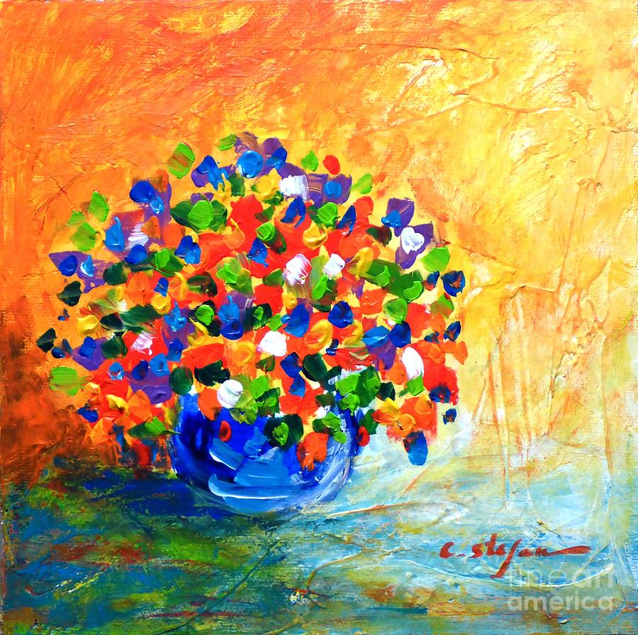 Color Painting - Vase With Flowers by Cristina Stefan