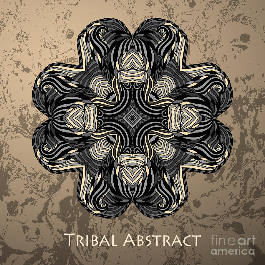 Mandala Digital Art - Vector Tribal Abstract Element For by Kakapo Studio
