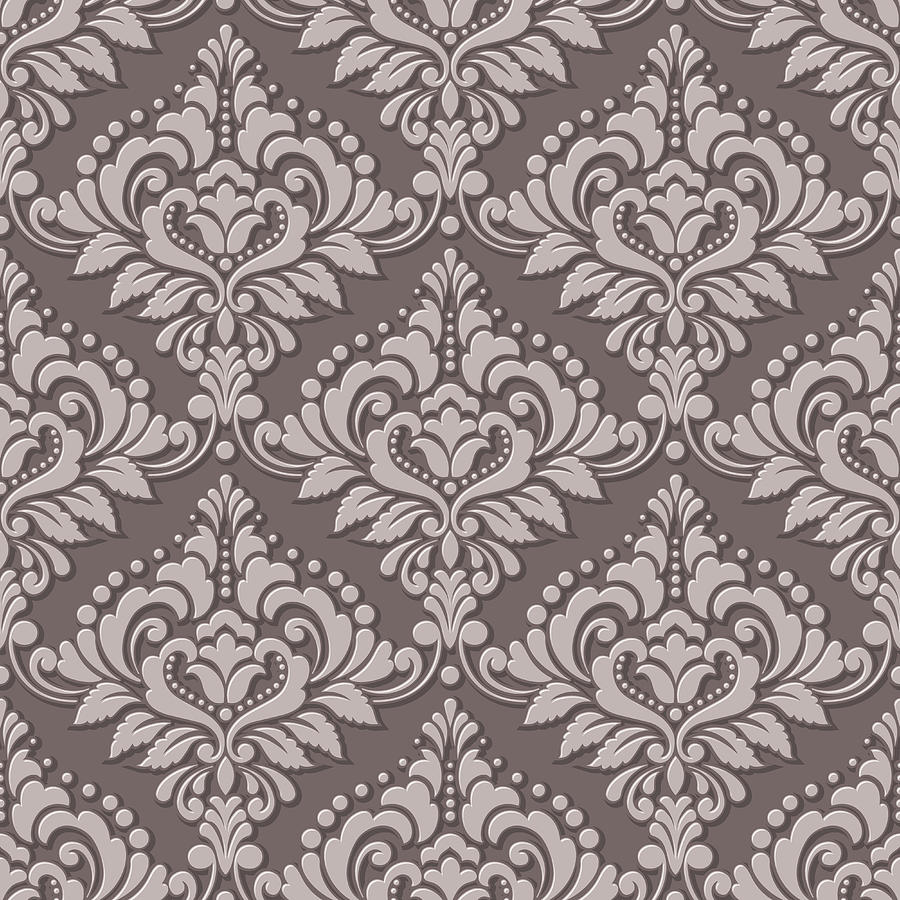Vector Volumetric Damask Seamless Pattern Background Elegant Luxury Embossed Texture For Wallpapers Backgrounds And Page Fill 3d Elements With