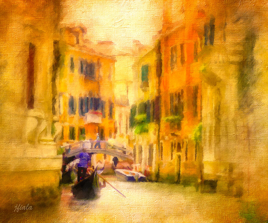 Landscape Painting - Venice Waterway No. 4 by Jane Fiala