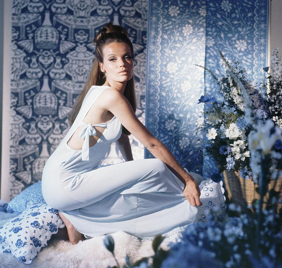 Veruschka Wearing Blue Nightgown Photograph by Horst P. Horst