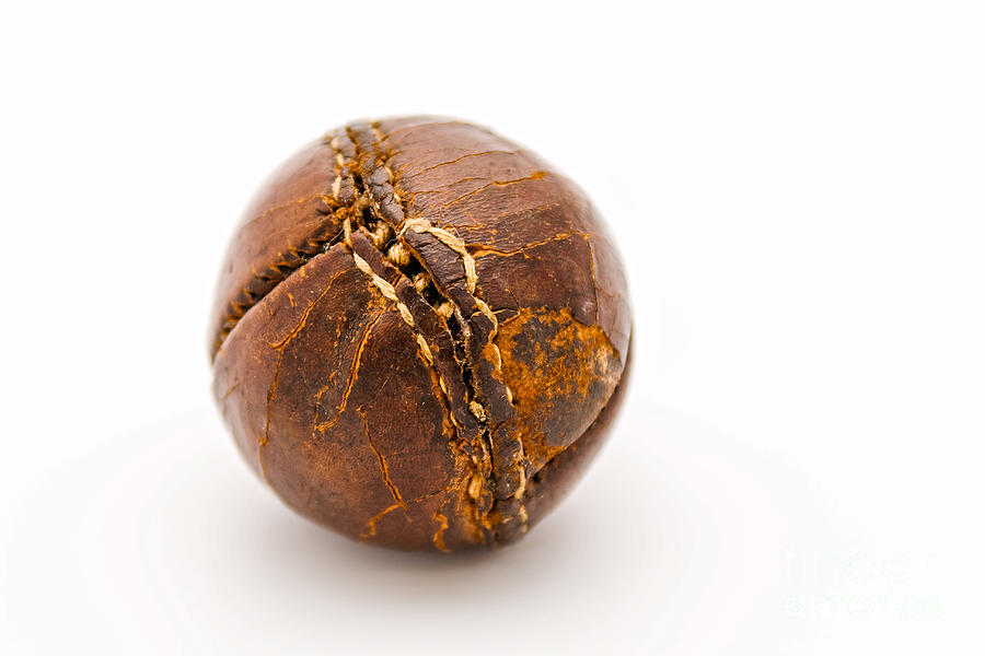 Athletic Photograph - Very Old Leather Baseball by Patricia Hofmeester