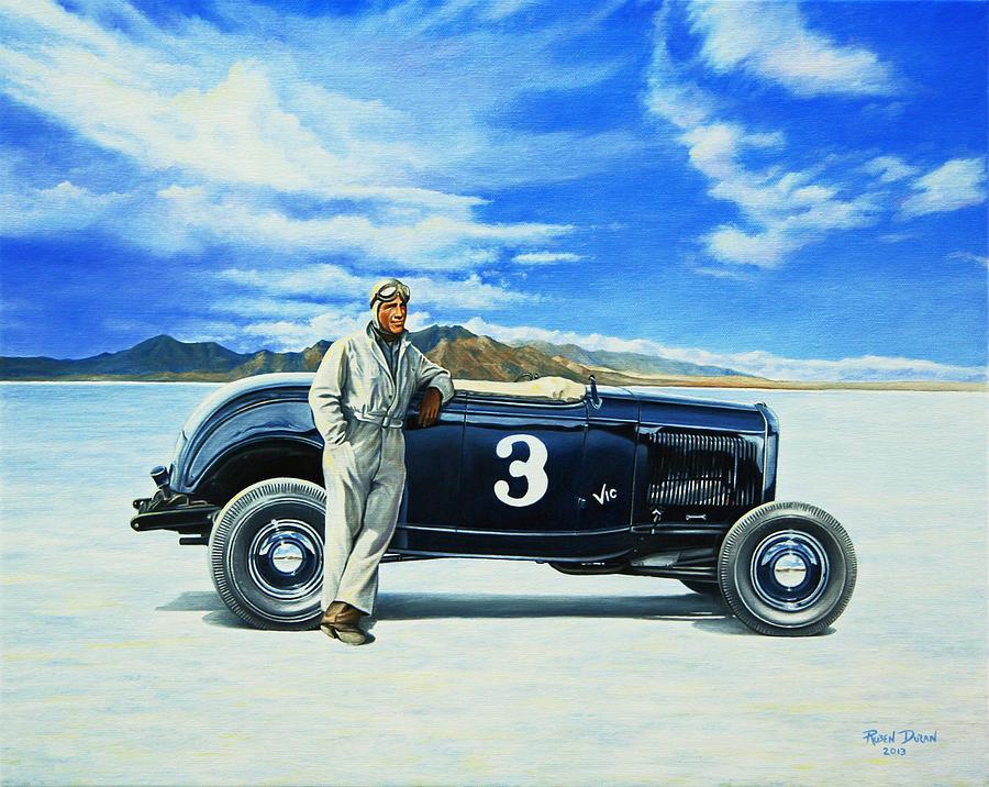 Bonneville Painting - Vic Edelbrock #2 by Ruben Duran