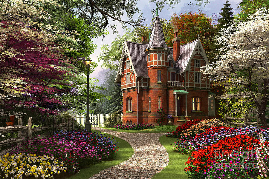 Dominic Davison Digital Art - Victorian Cottage In Bloom by Dominic Davison