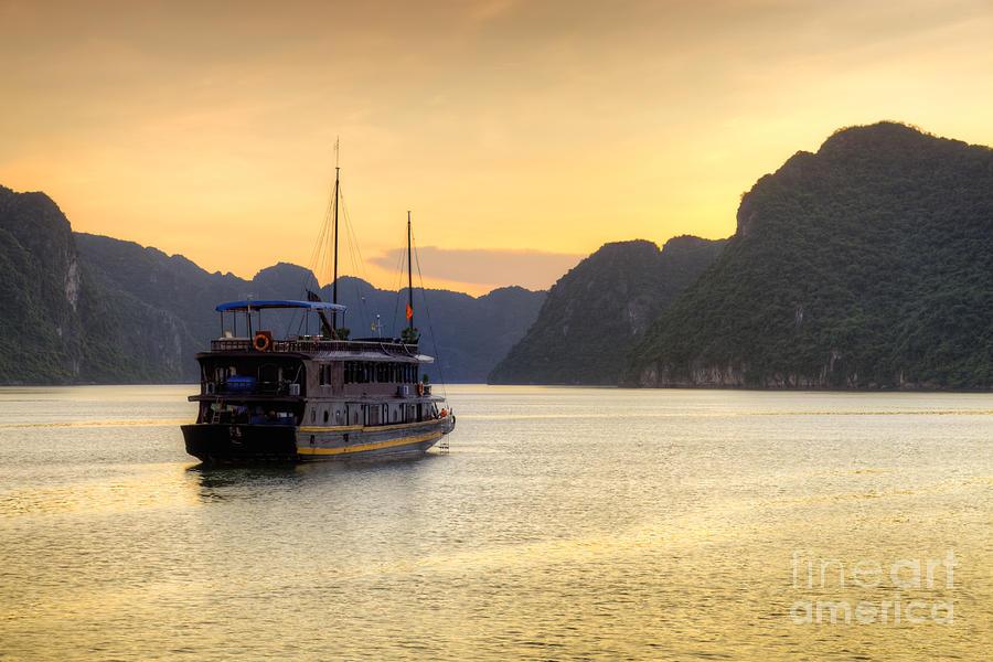 Bay Photograph - Vietnamese Junks On Halong Bay Vietnam by Fototrav Print