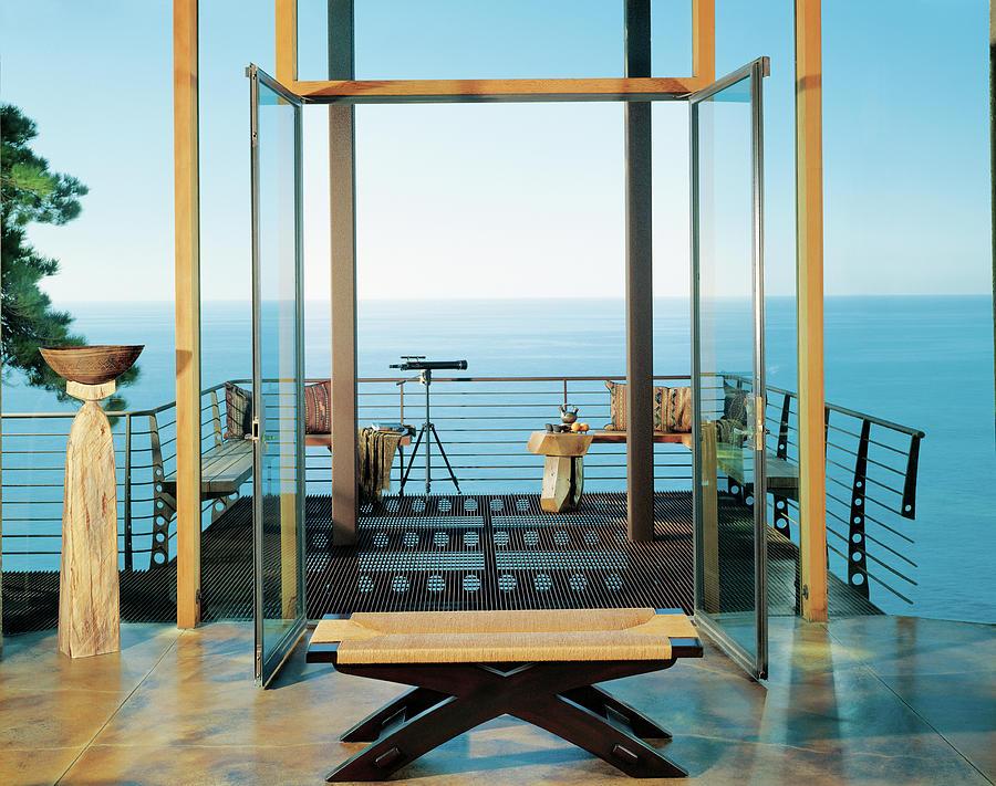 View Of Balcony Near Seaside Photograph by Mary E. Nichols
