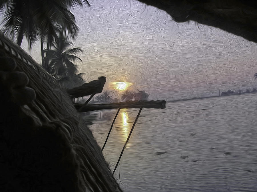 Alleppey Digital Art - View Of Sunrise From The Window Of A Houseboat by Ashish Agarwal