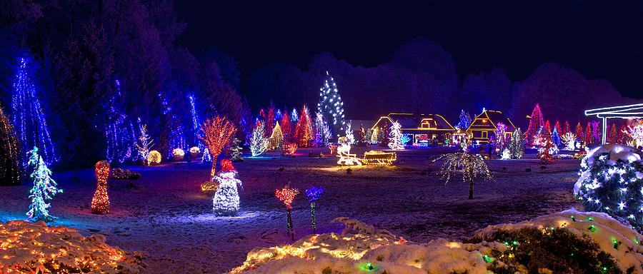 Village In Christmas Lights Panoramic View Photograph by Brch ...