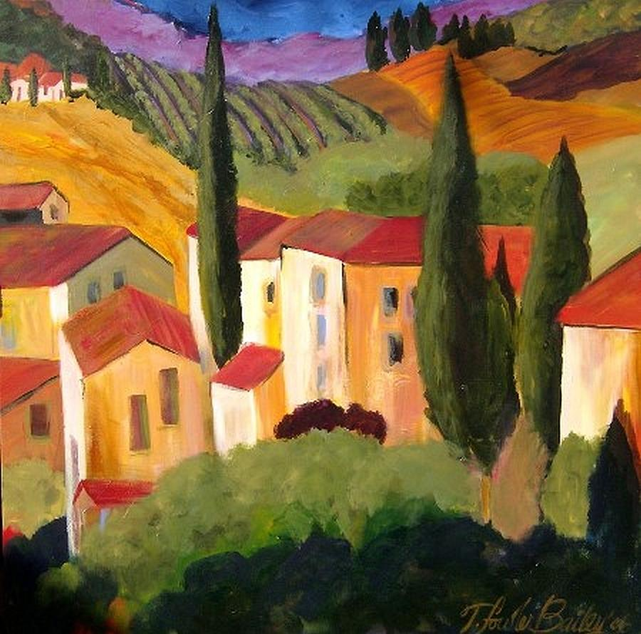 Villas Of Italy Painting - Villas Of Tuscany  by Therese Fowler-Bailey
