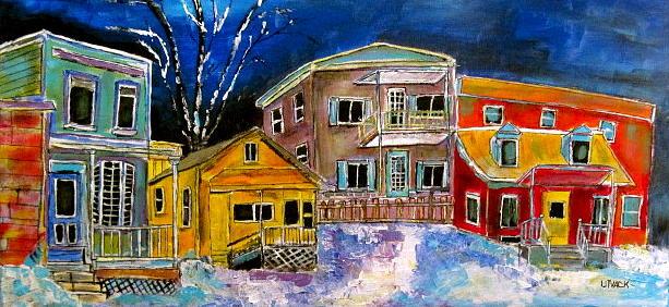 Street Painting - Ville St. Pierre Village by Michael Litvack