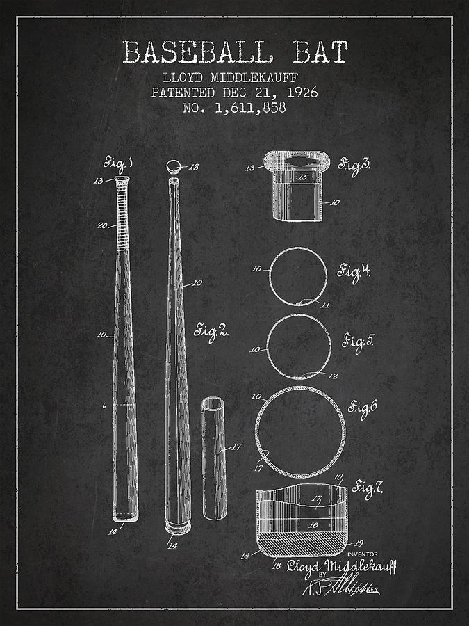 Baseball Bat Digital Art - Vintage Baseball Bat Patent from 1926 by Aged Pixel