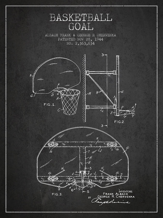Hoop Patent Digital Art - Vintage Basketball Goal Patent From 1944 by Aged Pixel