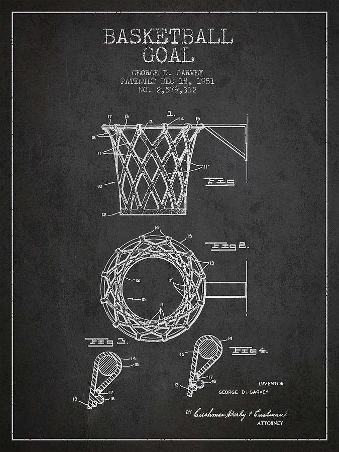 Hoop Patent Digital Art - Vintage Basketball Goal Patent From 1951 by Aged Pixel
