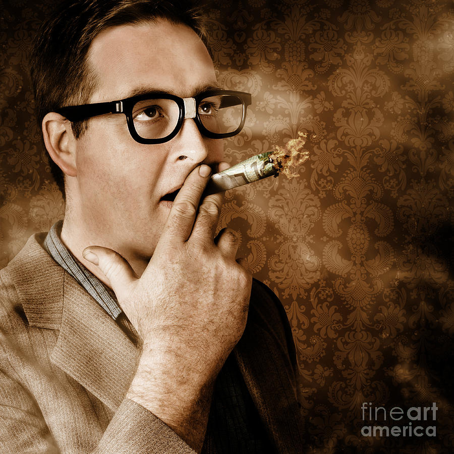 Money Photograph - Vintage Business Man Smoking Money In Success by Jorgo Photography - Wall Art Gallery