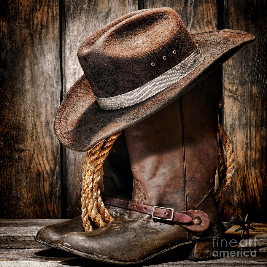 Vintage Cowboy Boots And Hat Photograph By American West
