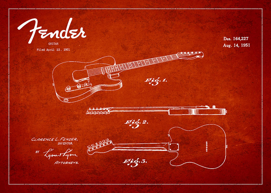 Fender Drawing - Vintage Fender Guitar Patent Drawing From 1951 by Aged Pixel
