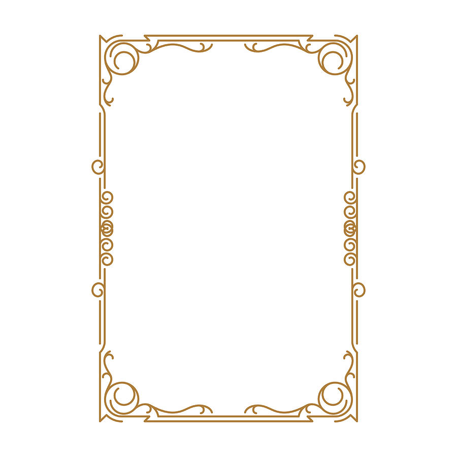 . Vintage Frame Retro Decoration Corner Template Design gold Photo Frame With  Corner Line Floral For Picture  Vector Design Decoration Frame Pattern