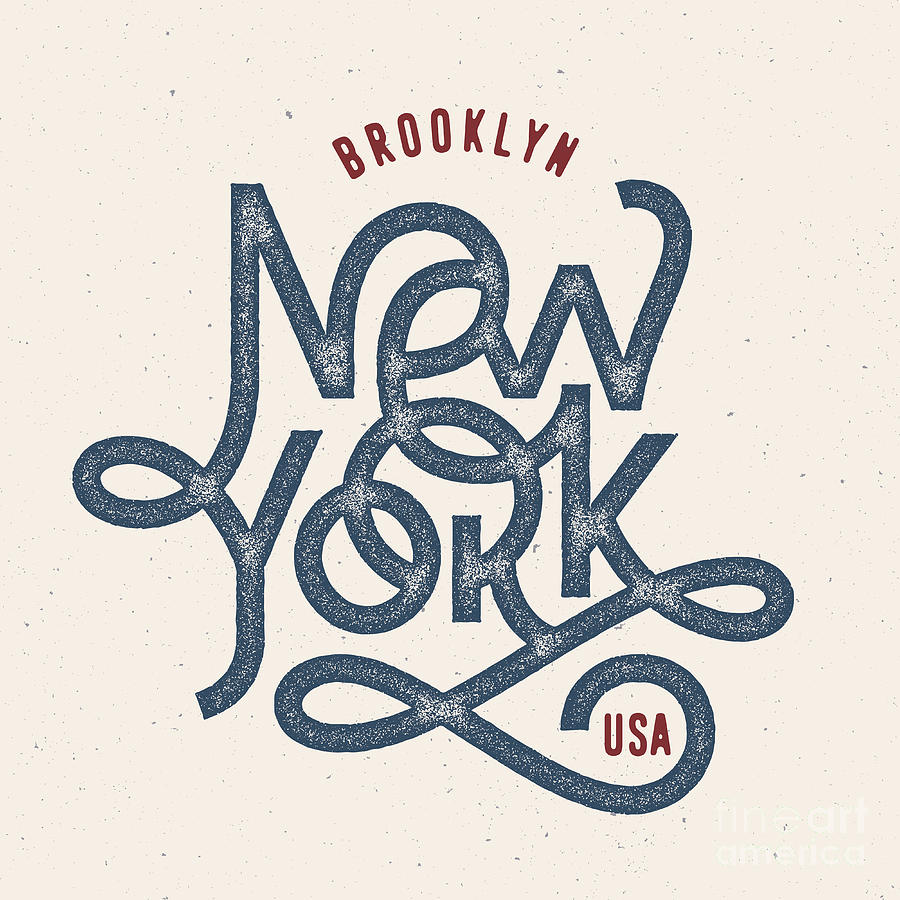 College Digital Art - Vintage Hand Lettered Textured New York by Tortuga