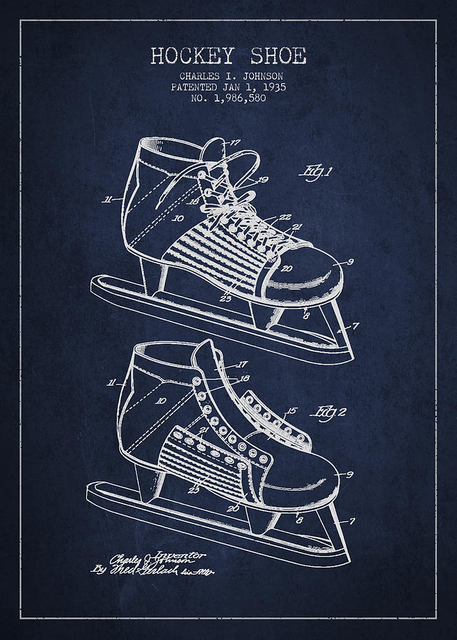 Hockey Skates Digital Art - Vintage Hockey Shoe Patent Drawing From 1935 by Aged Pixel