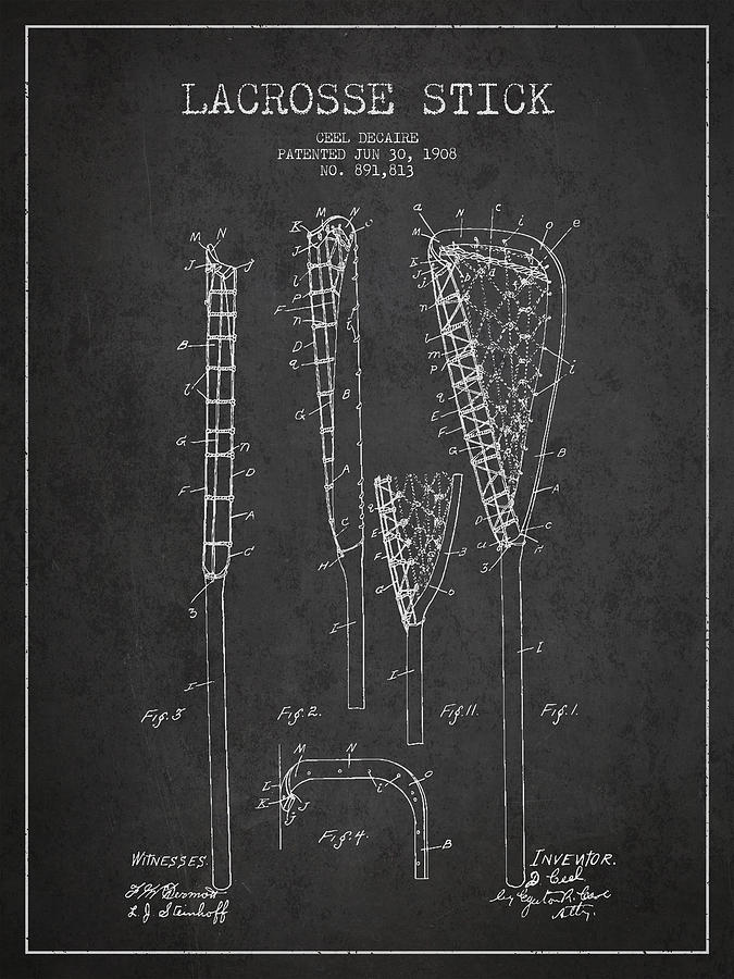 Vintage Lacrosse Stick Patent From 1908 Digital Art By