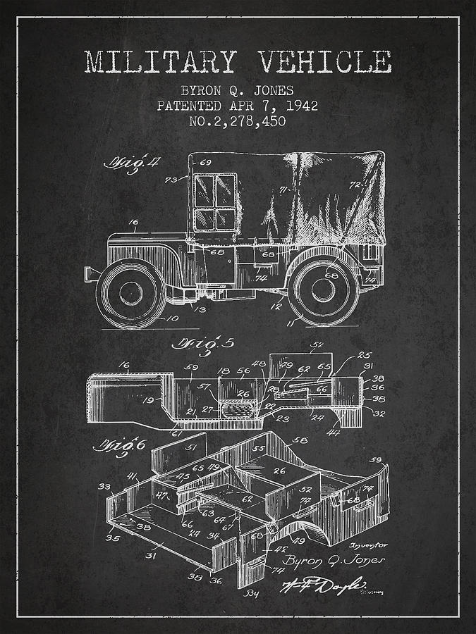 Military Vehicle Digital Art - Vintage Military Vehicle Patent From 1942 by Aged Pixel