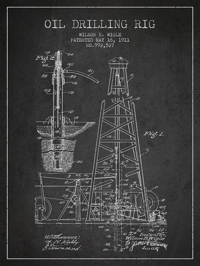 Oil Digital Art - Vintage Oil Drilling Rig Patent From 1911 by Aged Pixel