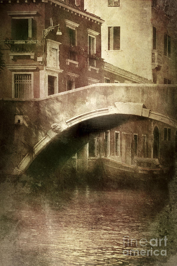 Vertical Photograph - Vintage Shot Of Venetian Canal, Venice by Evgeny Kuklev